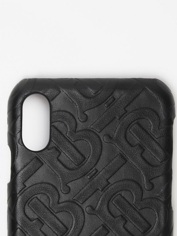 Coque pour iPhone X/XS en cuir Monogram (Noir) | Burberry - cell image 1