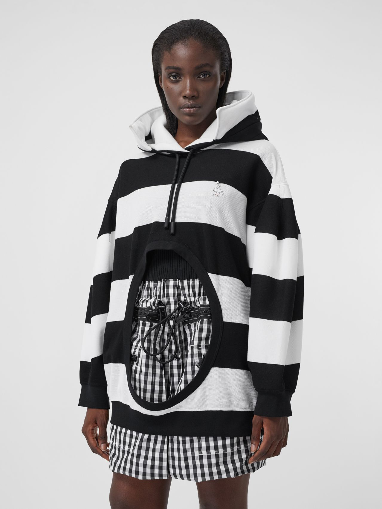 Swan Motif Cut-out Detail Cotton Oversized Hoodie in Black