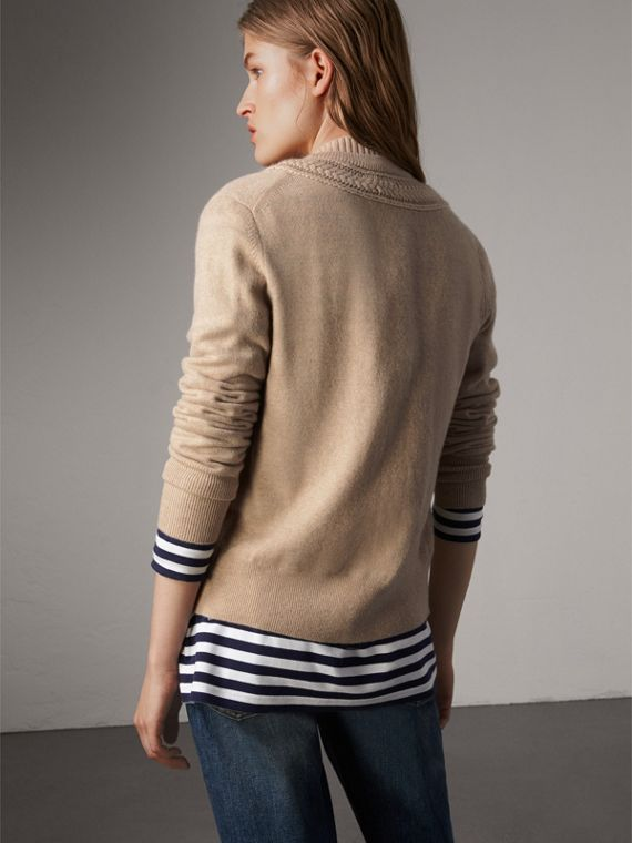Cable Knit Detail Cashmere Cardigan in Taupe Melange - Women | Burberry - cell image 2
