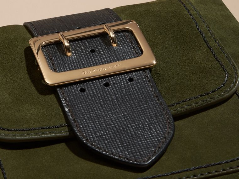 Verde militare Borsa The Buckle media quadrata in pelle scamosciata inglese e motivo House check - cell image 1