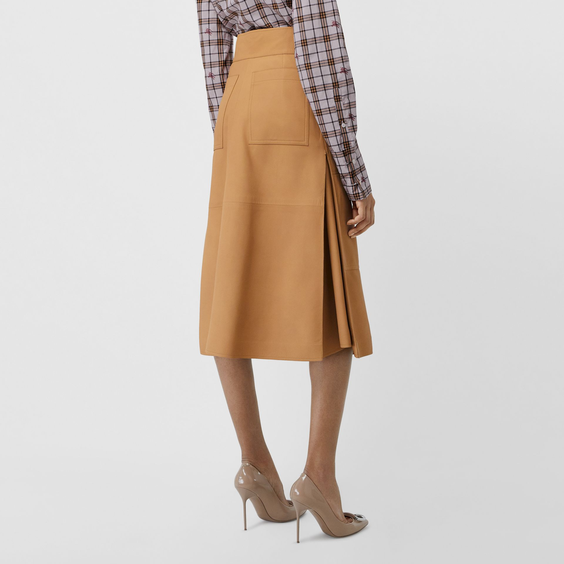 Lambskin High-waisted Skirt in Caramel - Women | Burberry - gallery image 2