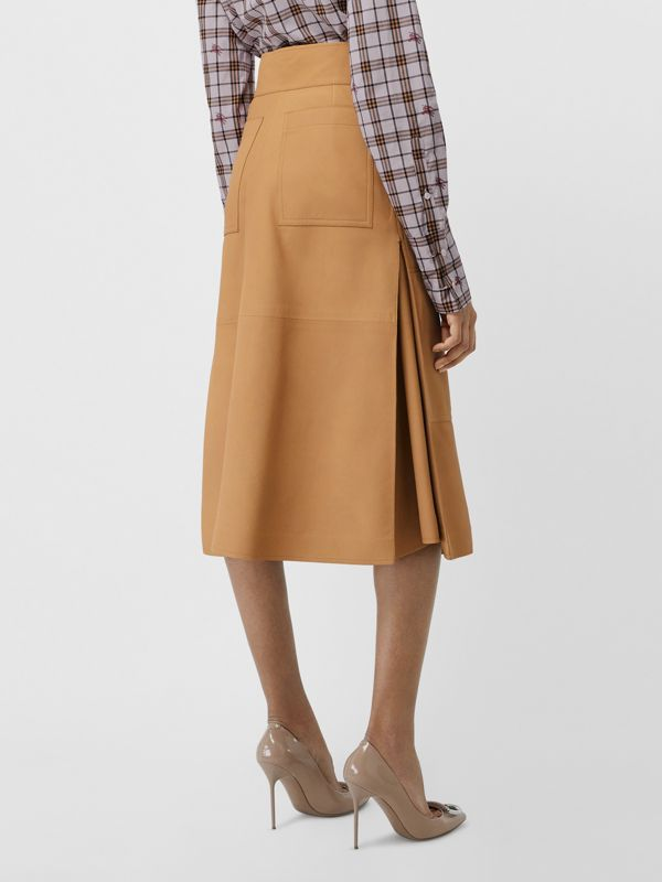 Lambskin High-waisted Skirt in Caramel - Women | Burberry - cell image 2