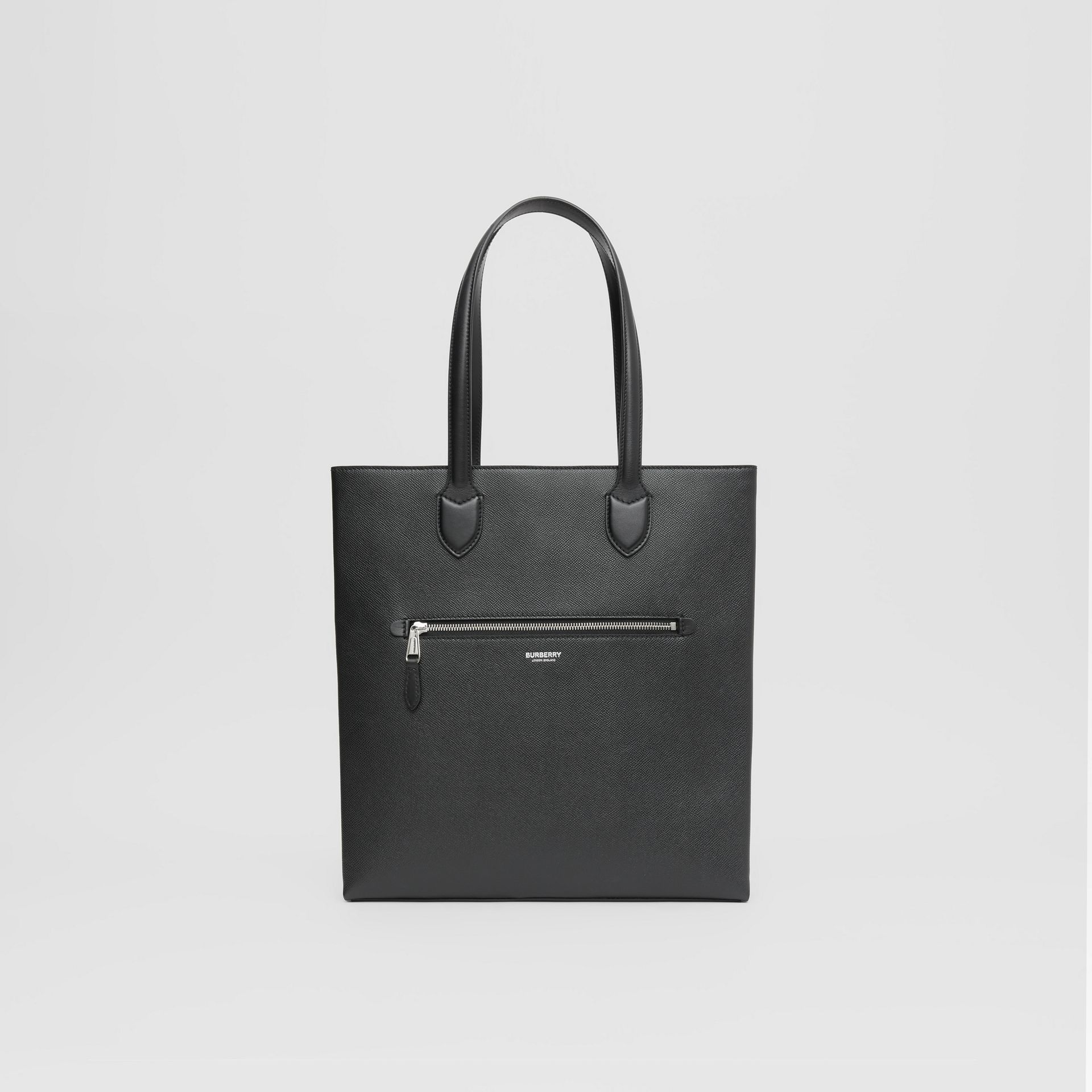 Medium Grainy Leather Tote in Black - Men | Burberry - gallery image 0