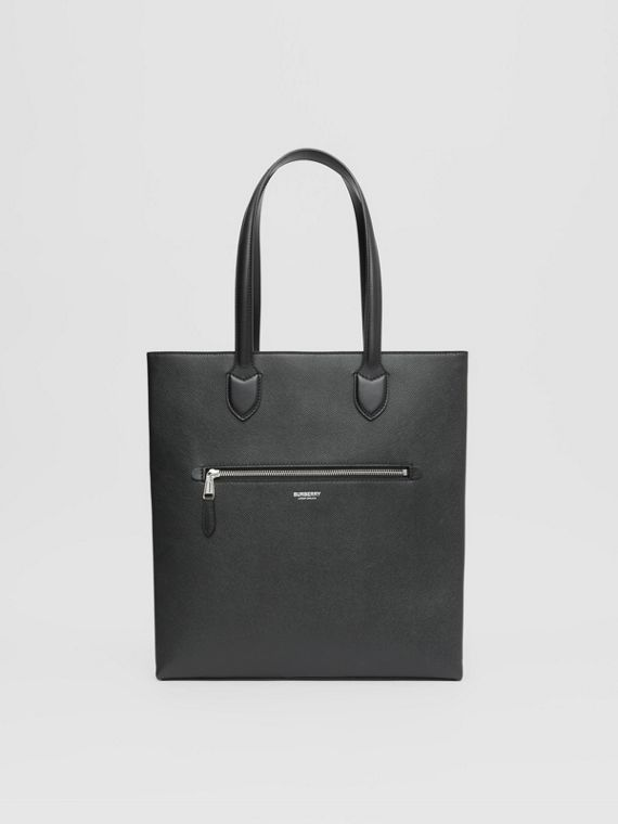 Mittelgroße Henkeltasche aus genarbtem Leder (Schwarz)