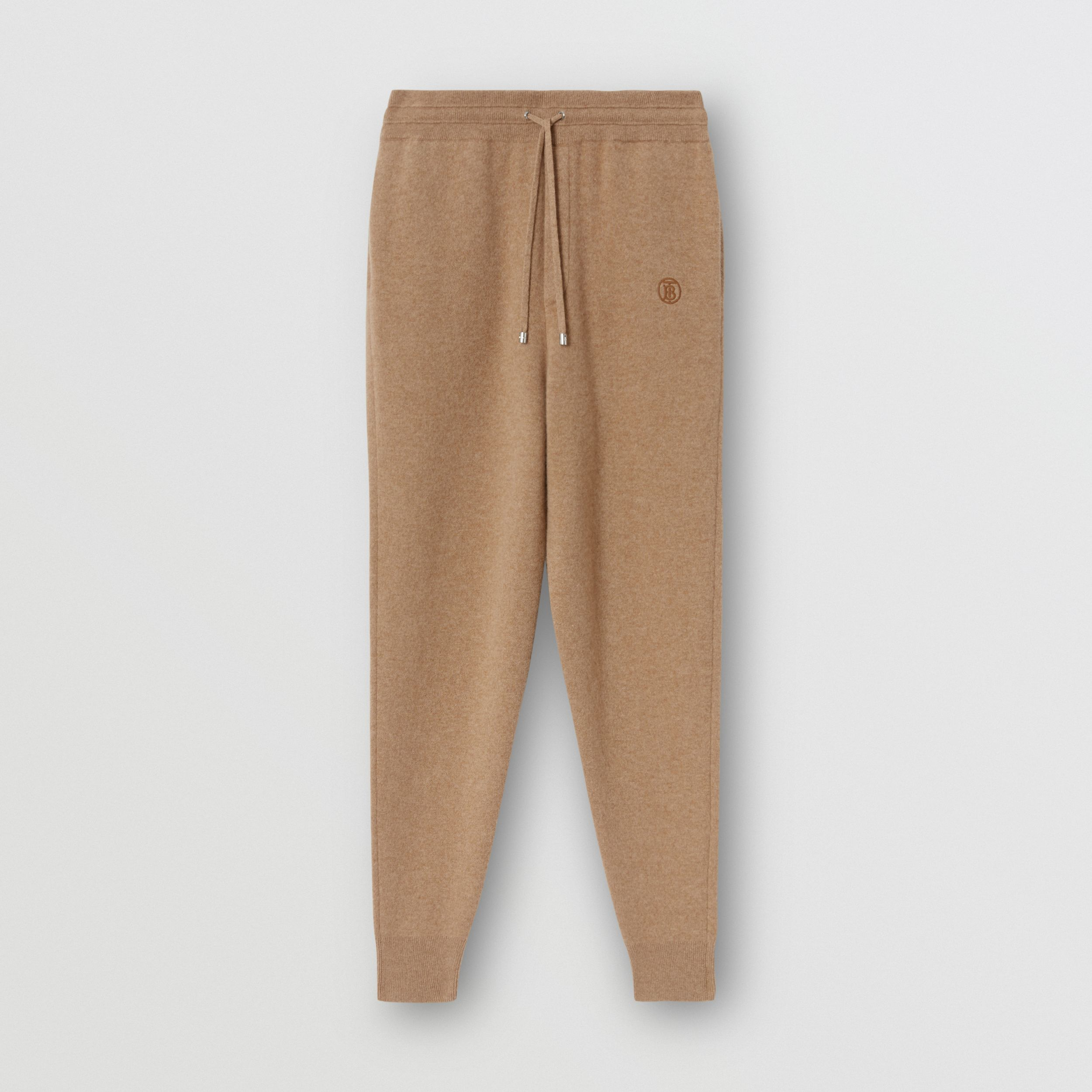 Monogram Motif Cashmere Blend Trackpants in Pale Coffee - Men | Burberry - 4