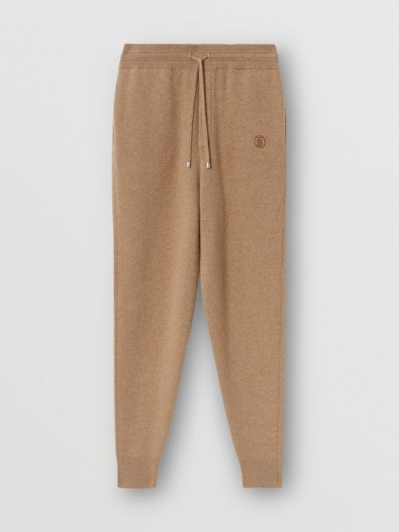 Monogram Motif Cashmere Blend Trackpants in Pale Coffee - Men | Burberry - cell image 1