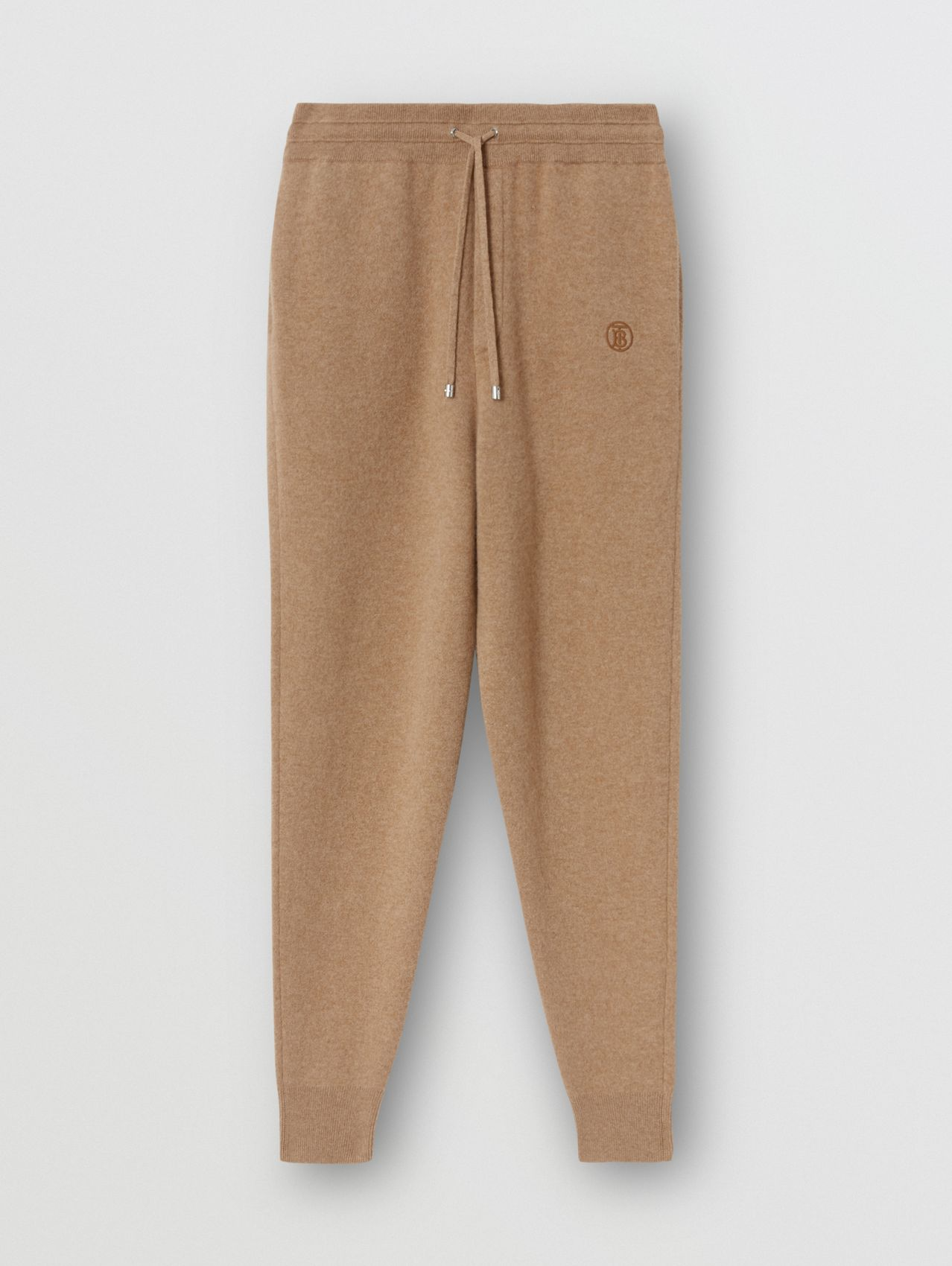 Monogram Motif Cashmere Blend Jogging Pants in Pale Coffee