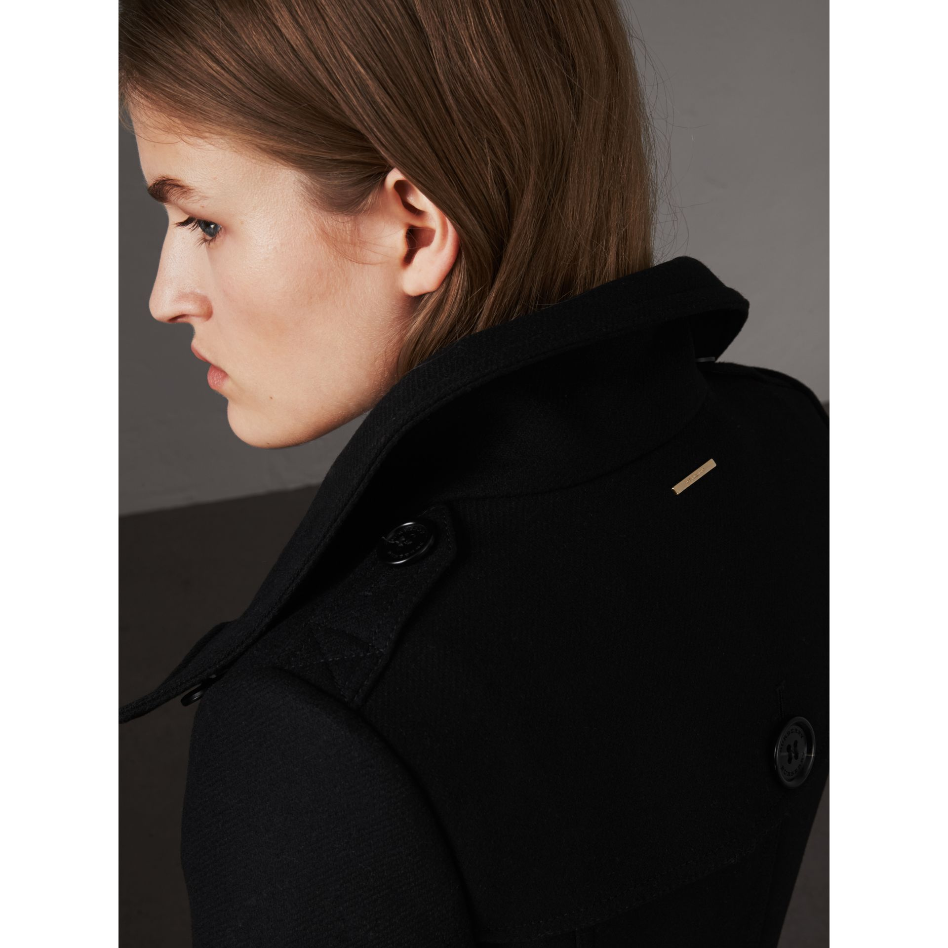 Technical Wool Cashmere Funnel Neck Coat in Black - Women | Burberry - gallery image 6