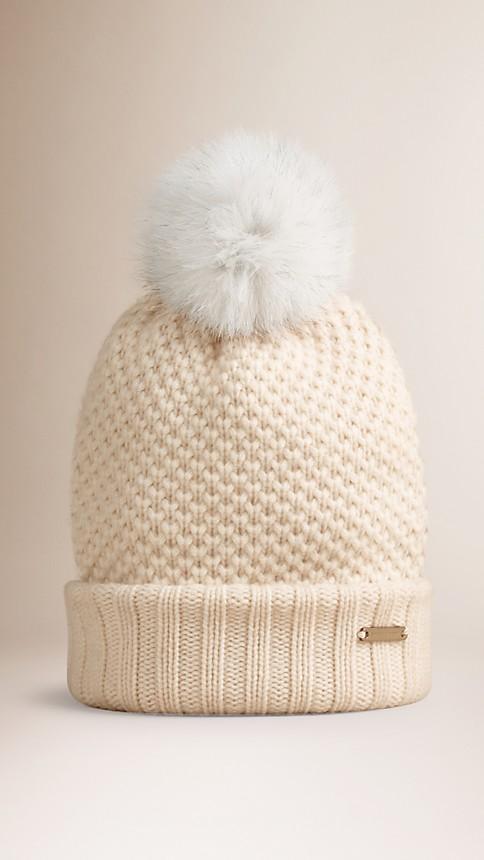 Ivory Fur Pom-Pom Beanie Ivory - Image 1