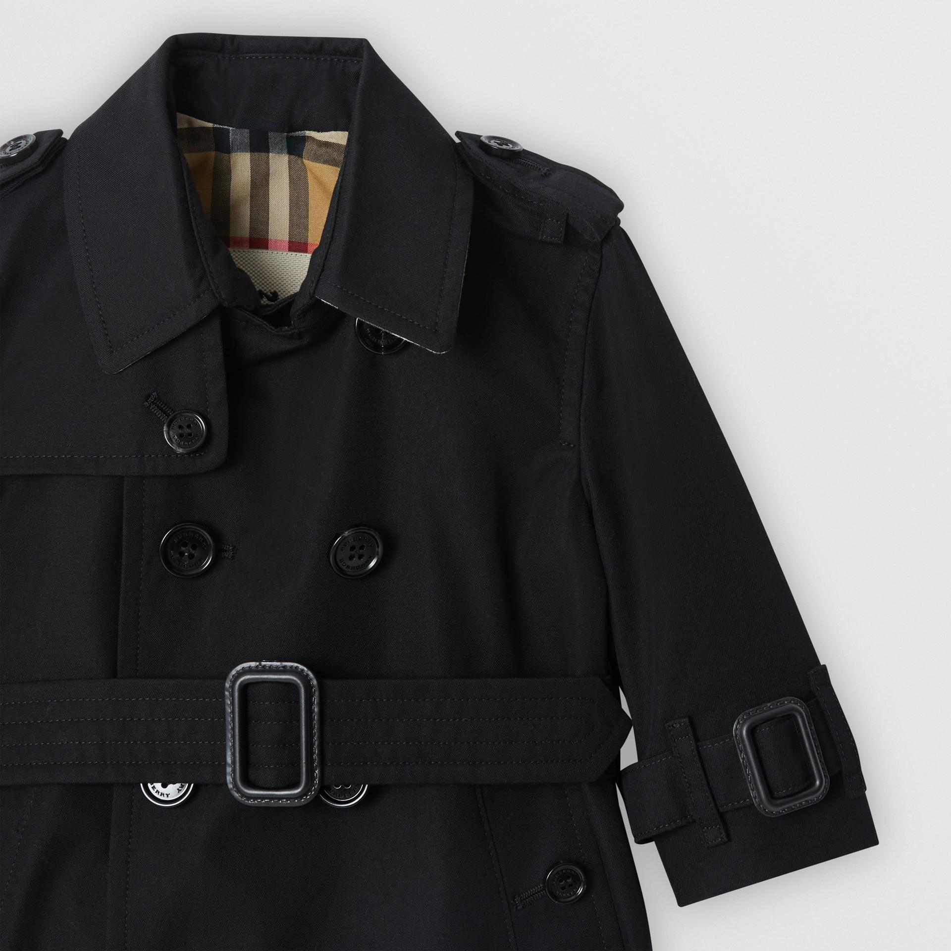 Cotton Gabardine Trench Coat in Black - Children | Burberry United Kingdom - gallery image 5