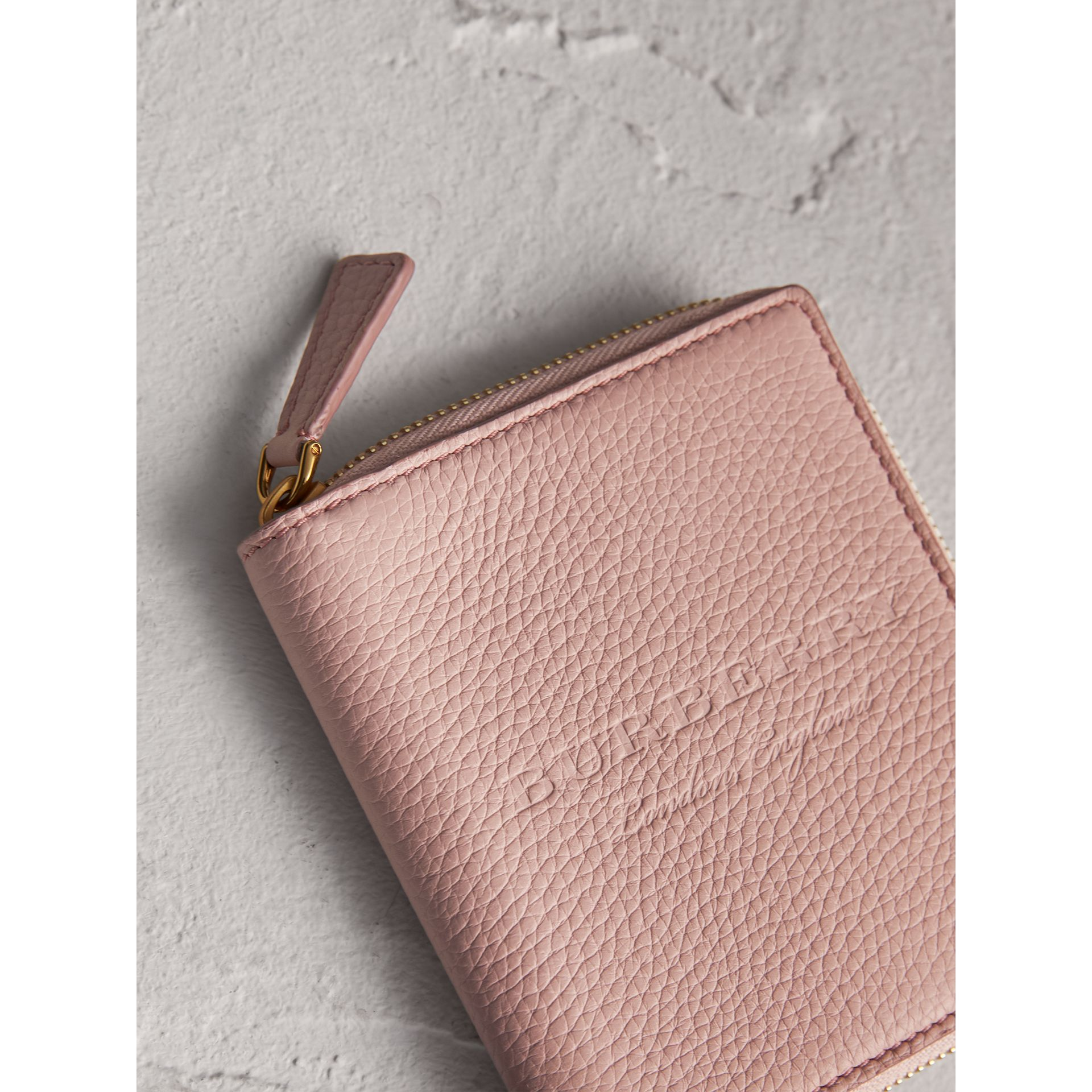 Embossed Grainy Leather Ziparound A6 Notebook Case in Pale Ash Rose | Burberry Australia - gallery image 1