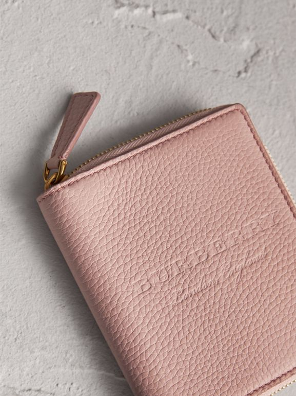 Embossed Grainy Leather Ziparound A6 Notebook Case in Pale Ash Rose | Burberry Australia - cell image 1