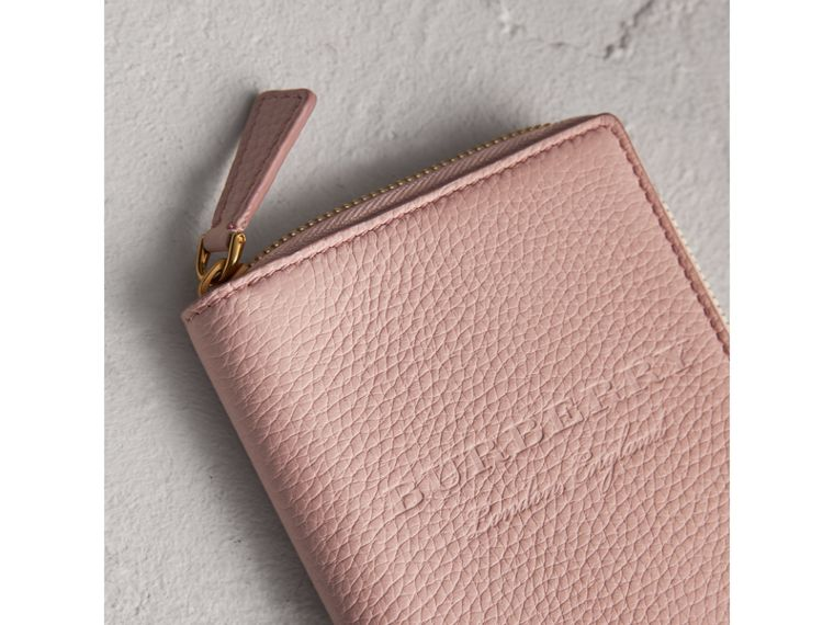 Embossed Grainy Leather Ziparound A6 Notebook Case in Pale Ash Rose | Burberry - cell image 1
