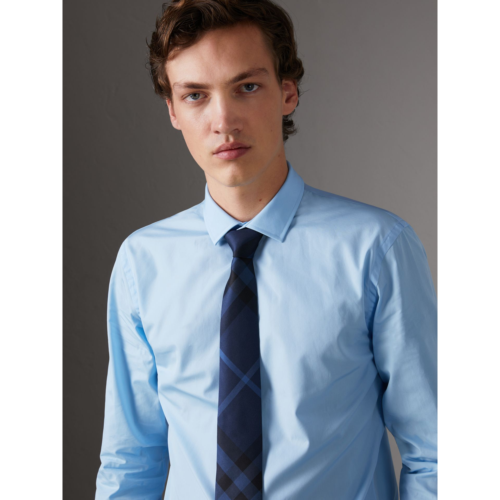 Slim Fit Cotton Poplin Shirt in City Blue - Men | Burberry United Kingdom - gallery image 0