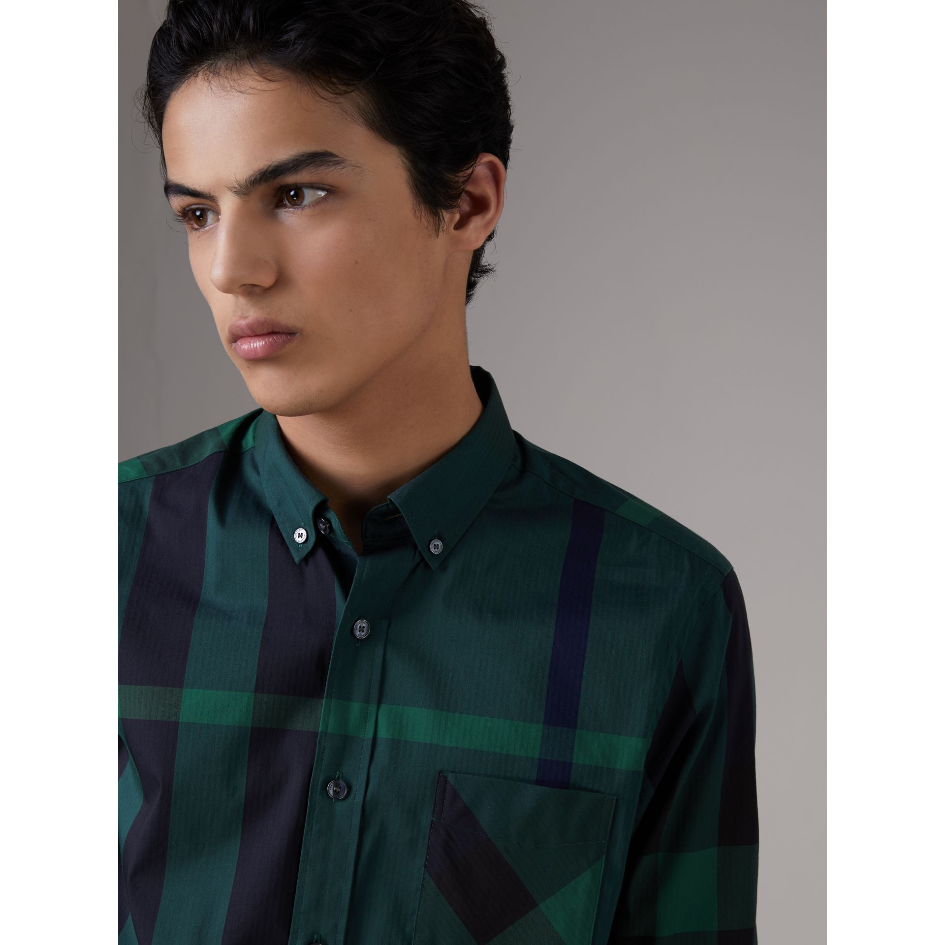 Button-down Collar Check Stretch Cotton Blend Shirt in Forest Green - Men | Burberry Hong Kong - gallery image 1