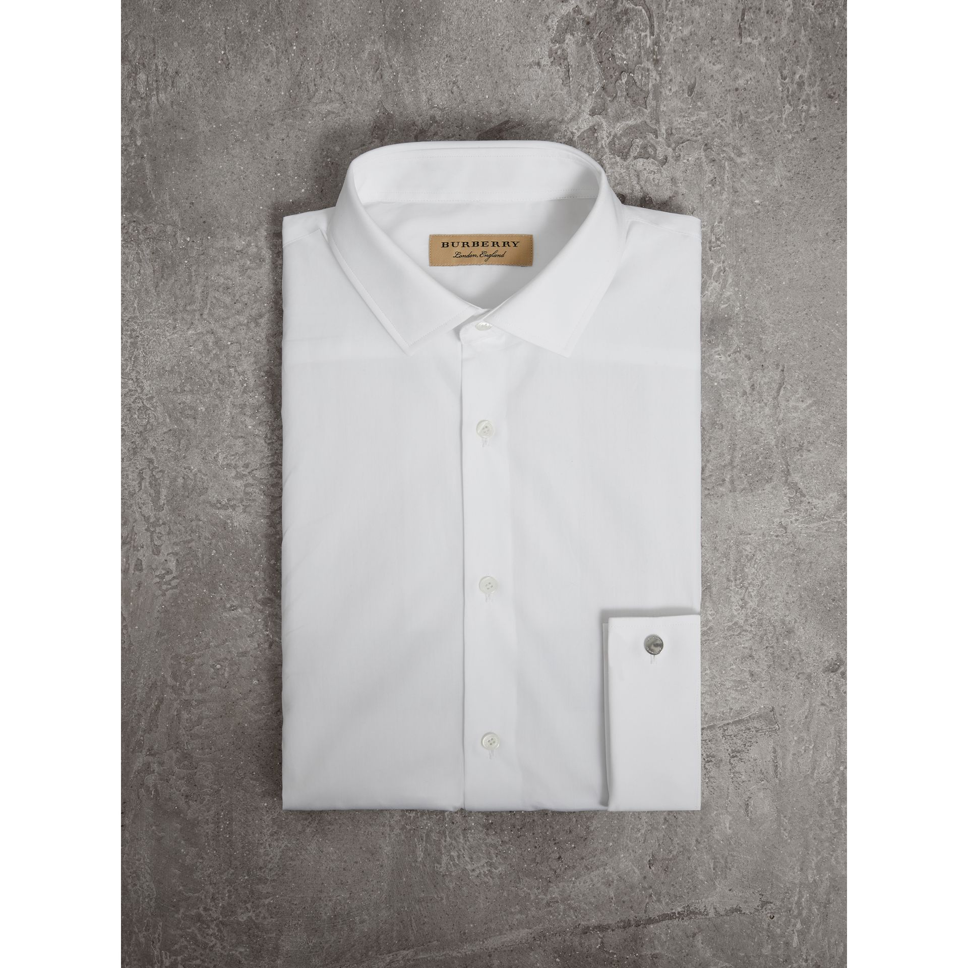 Slim Fit Double Cuff Cotton Poplin Shirt in White - Men | Burberry - gallery image 3