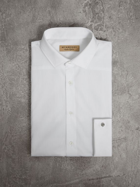 Slim Fit Double Cuff Cotton Poplin Shirt in White - Men | Burberry Canada - cell image 3