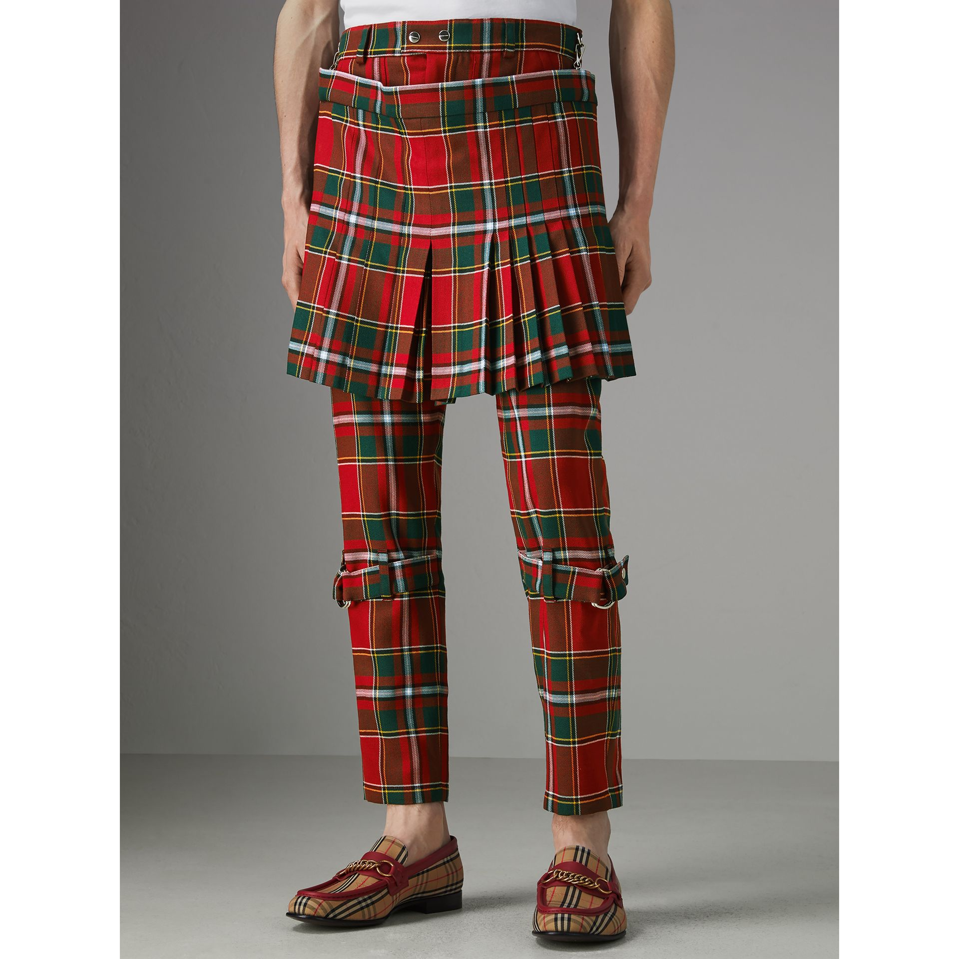 Modern Stewart Royal Tartan Punk Trousers in Bright Red | Burberry Singapore - gallery image 4