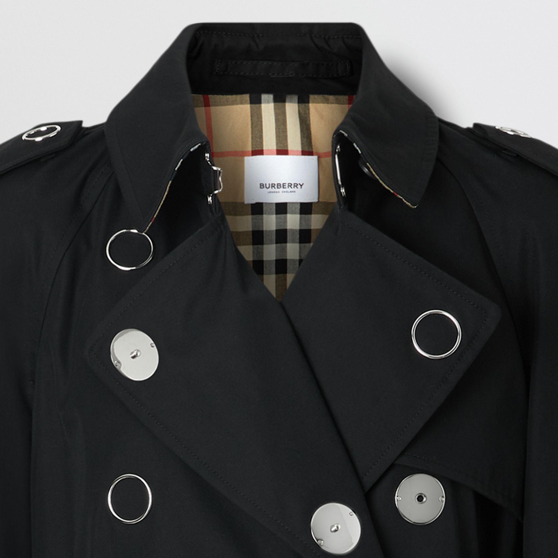 Press-stud Detail Cotton Gabardine Trench Coat in Black - Women | Burberry - gallery image 1