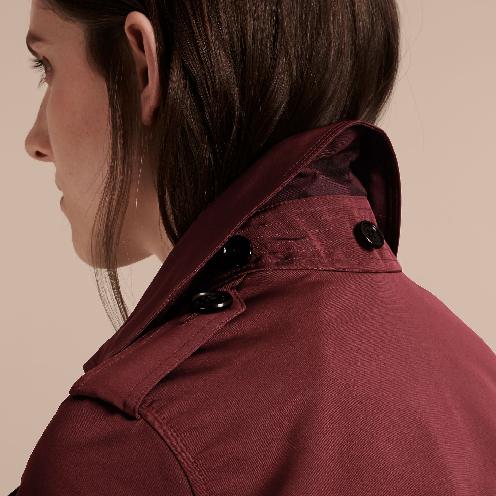 Deep claret Showerproof Taffeta Trench Jacket with Detachable Hood Deep Claret - gallery image 6