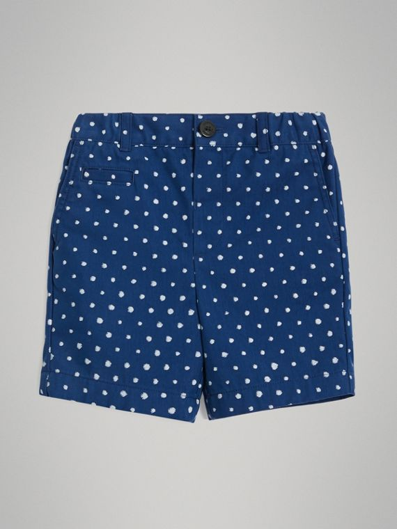 Spot Print Cotton Blend Shorts in Bright Navy