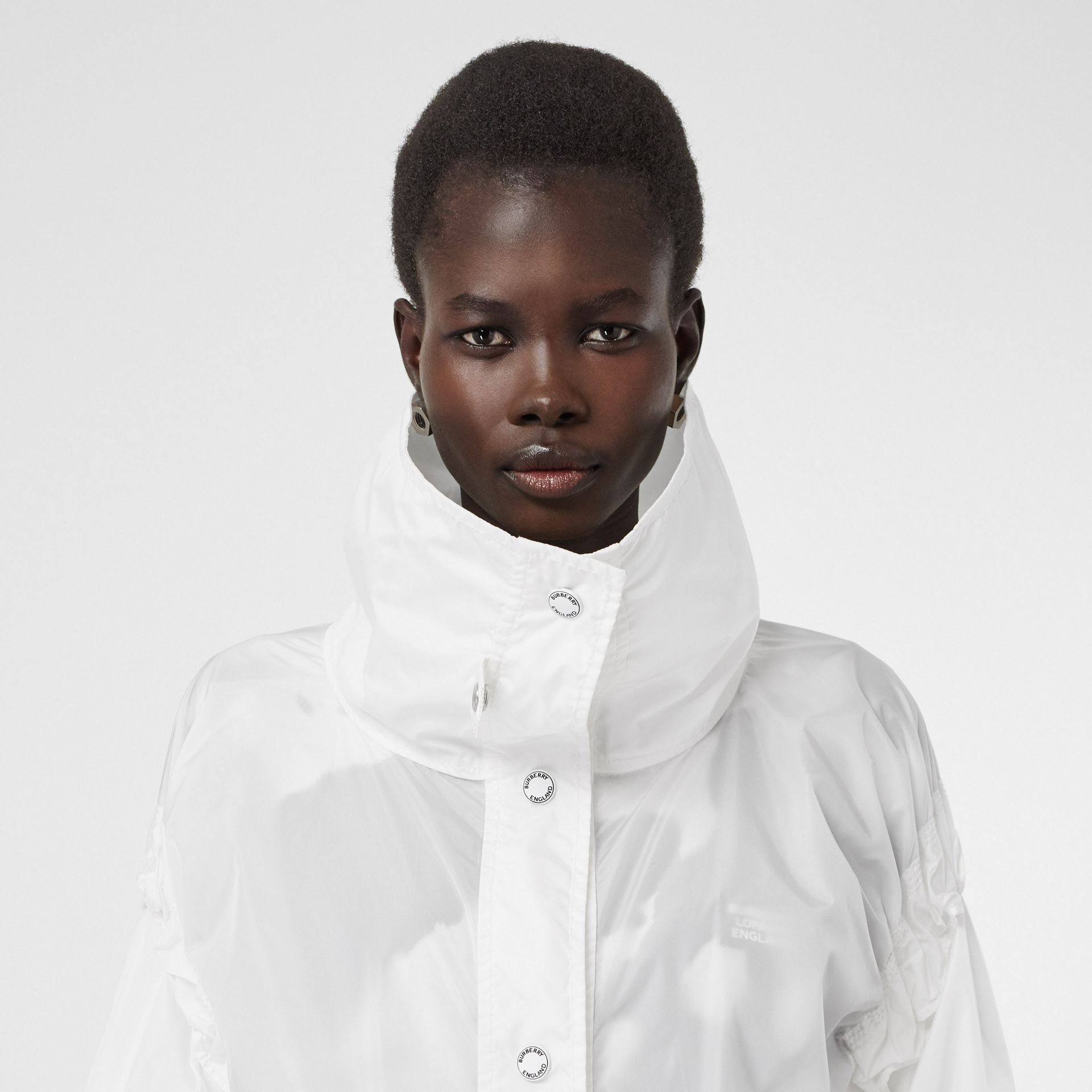 Drawcord Detail Logo Print Lightweight Jacket in White - Women | Burberry Australia - gallery image 1