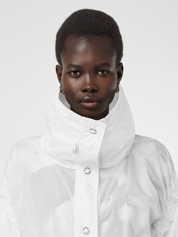 Drawcord Detail Logo Print Lightweight Jacket in White - Women | Burberry - cell image 1