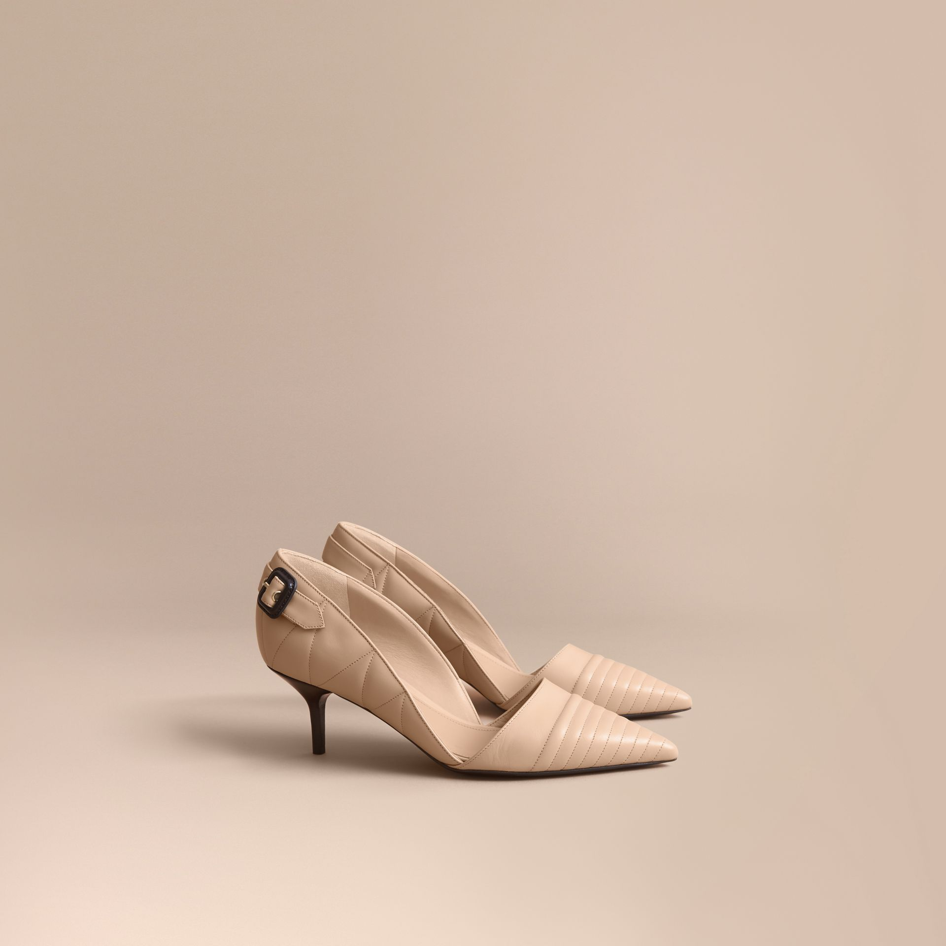 Quilted Leather D'Orsay Pumps in Pale Taupe - Women | Burberry Singapore - gallery image 1