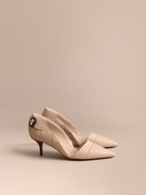 Quilted Leather D'Orsay Pumps in Pale Taupe