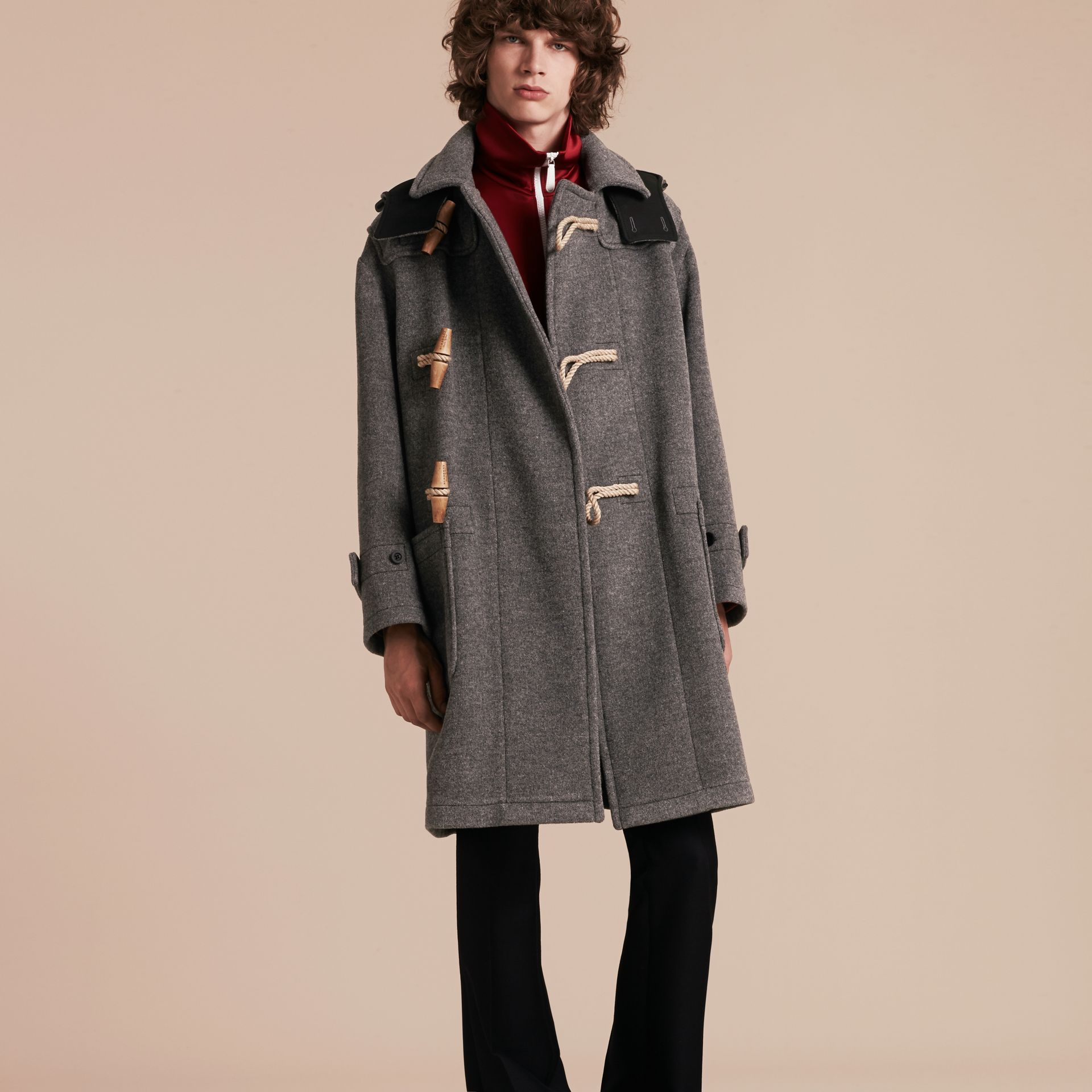 Mid grey Double Splittable Wool Blend Duffle Coat - gallery image 7