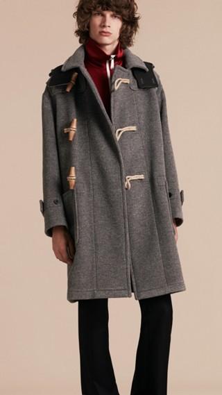 Duffle-coat en laine mélangée double épaisseur