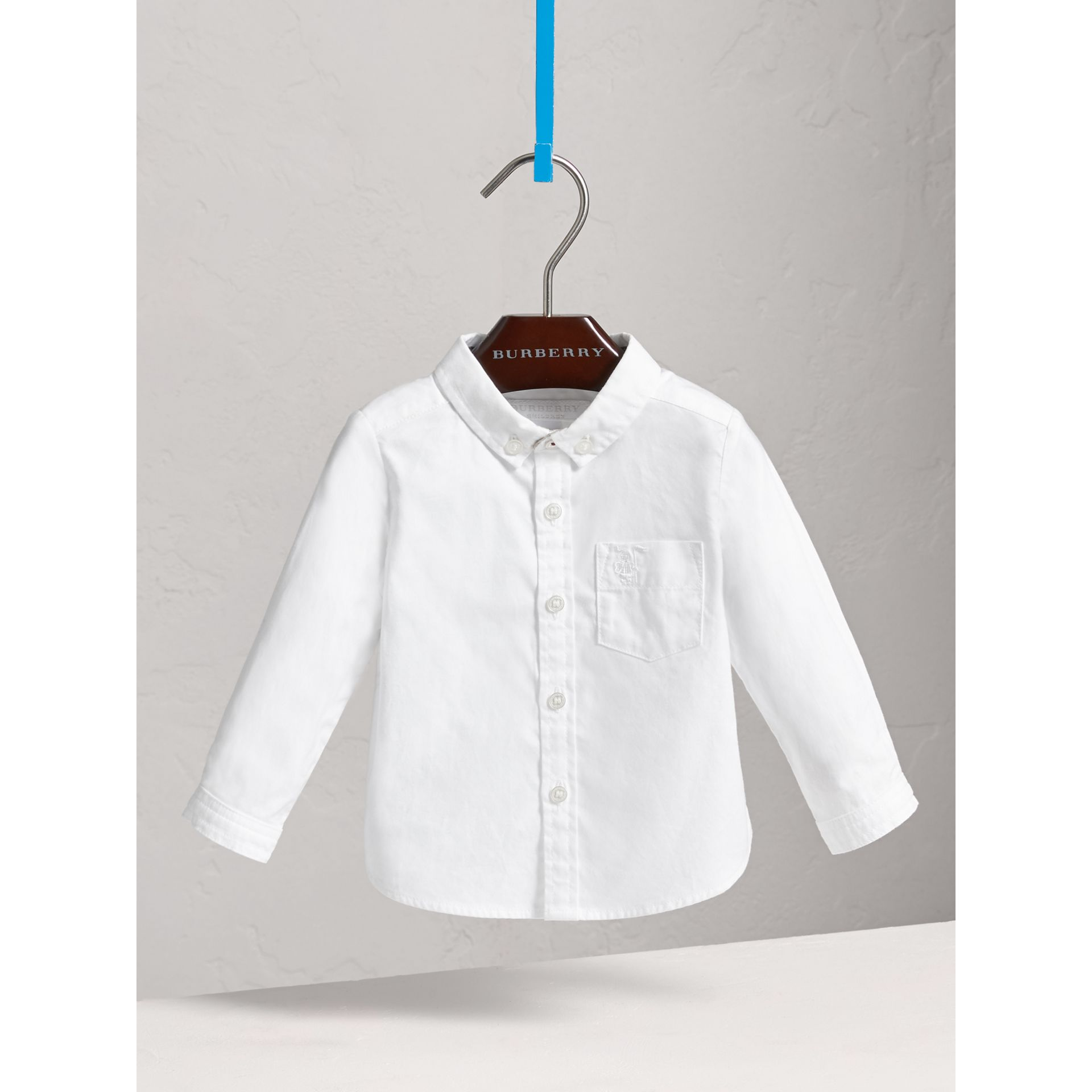 Button-down Collar Cotton Oxford Shirt in White - Children | Burberry - gallery image 0