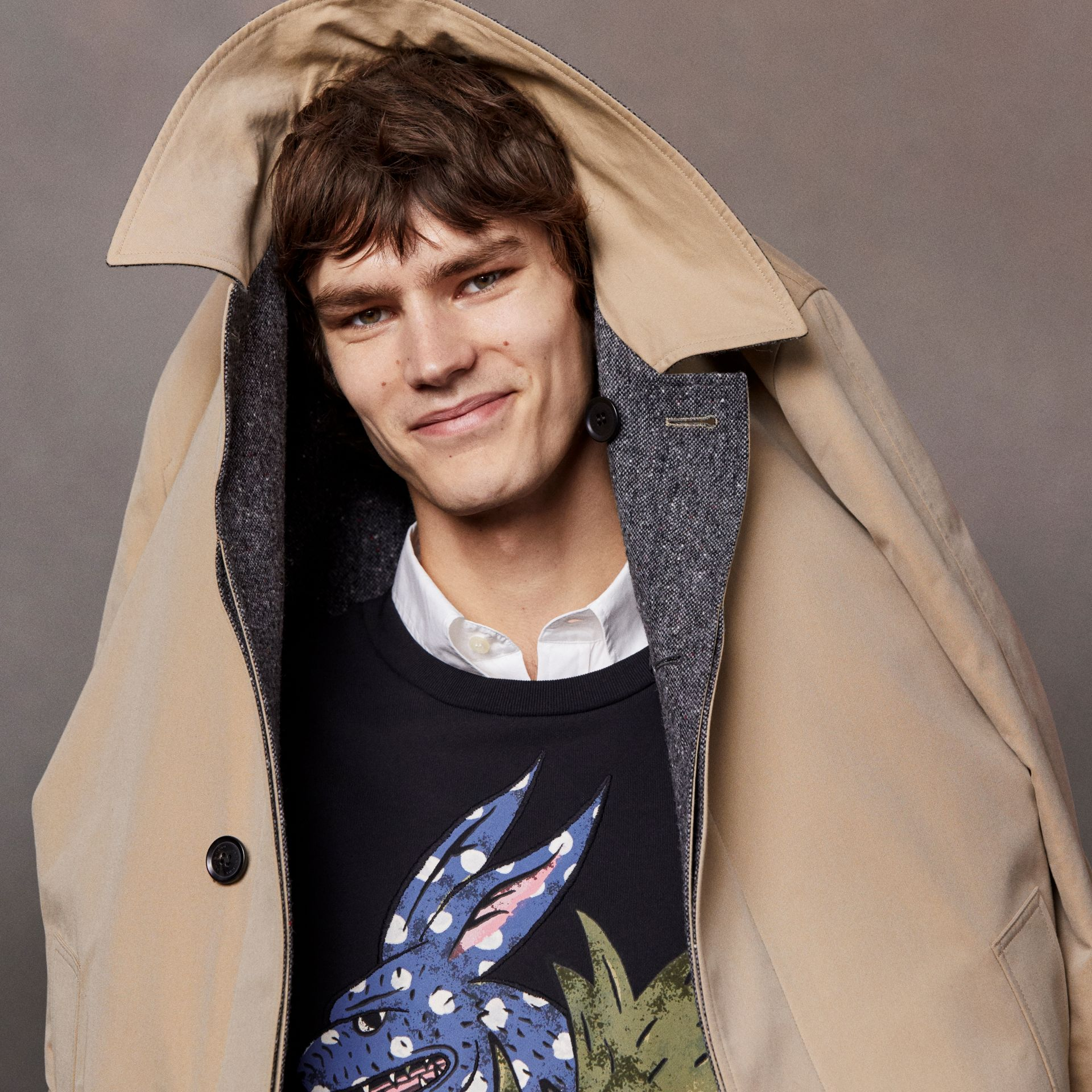 Reversible Gabardine and Donegal Tweed Car Coat in Honey - Men | Burberry Australia - gallery image 7
