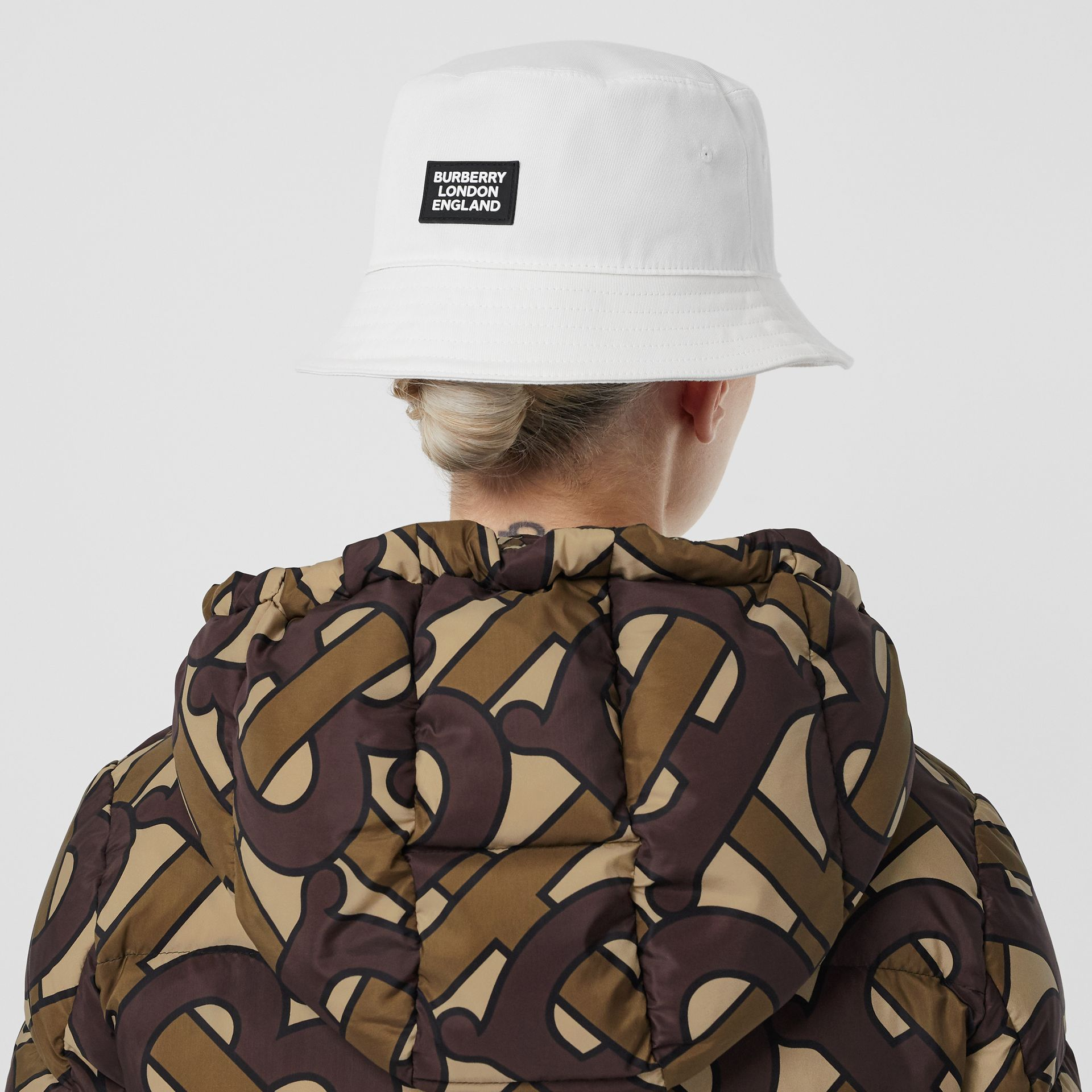 Logo Appliqué Cotton Bucket Hat in White | Burberry United States - gallery image 5