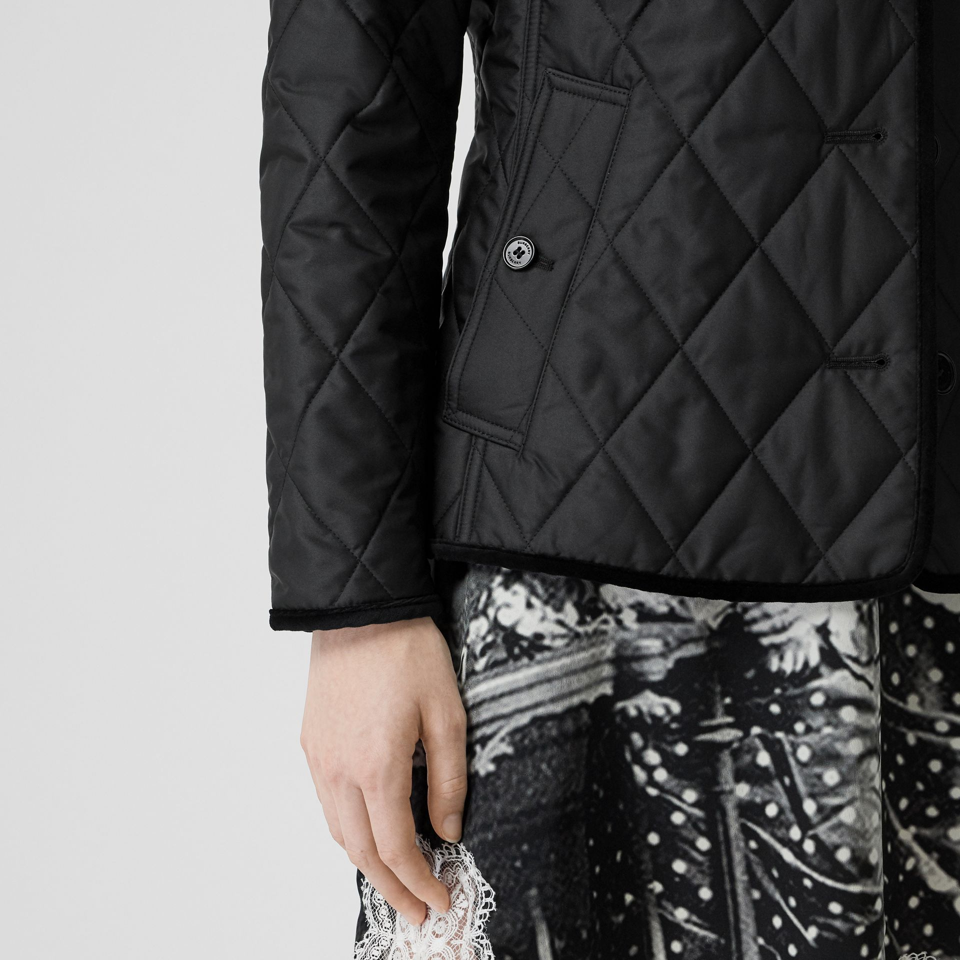 Monogram Motif Diamond Quilted Jacket in Black - Women | Burberry Singapore - gallery image 5