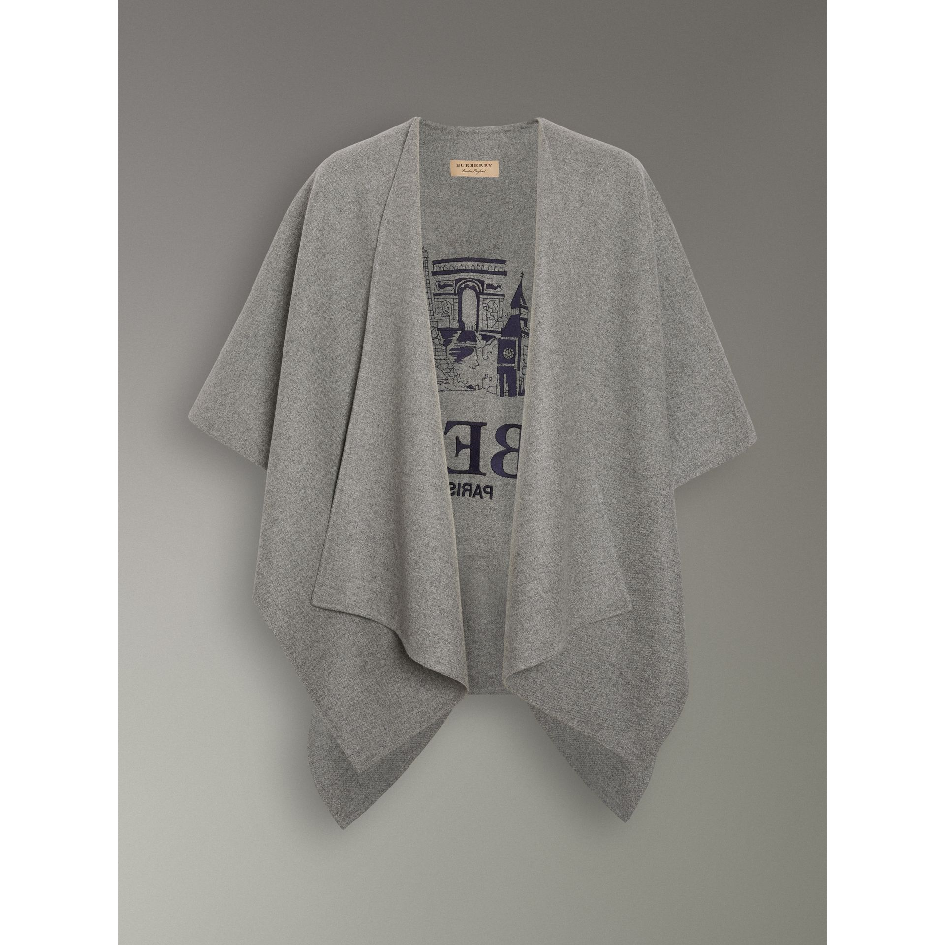 Embroidered Skyline Cashmere Poncho in Pale Grey Melange - Women | Burberry Singapore - gallery image 3