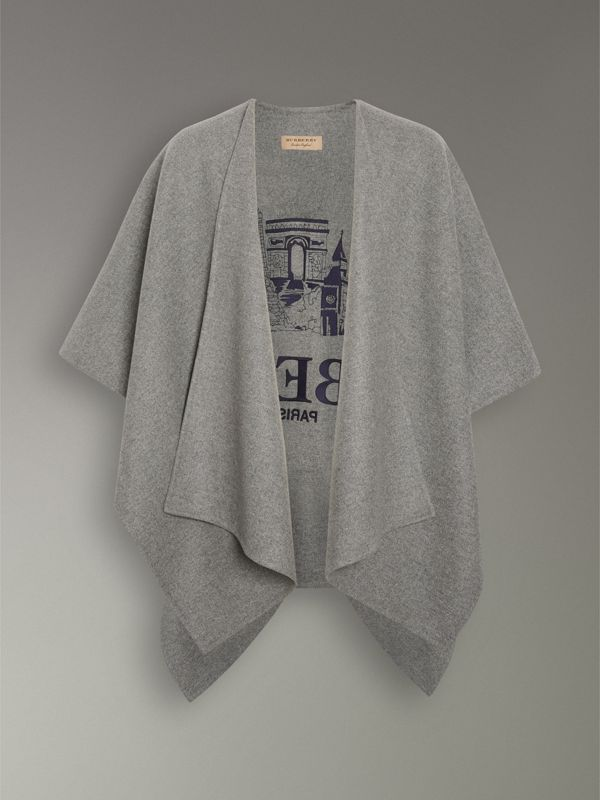 Embroidered Skyline Cashmere Poncho in Pale Grey Melange - Women | Burberry - cell image 3
