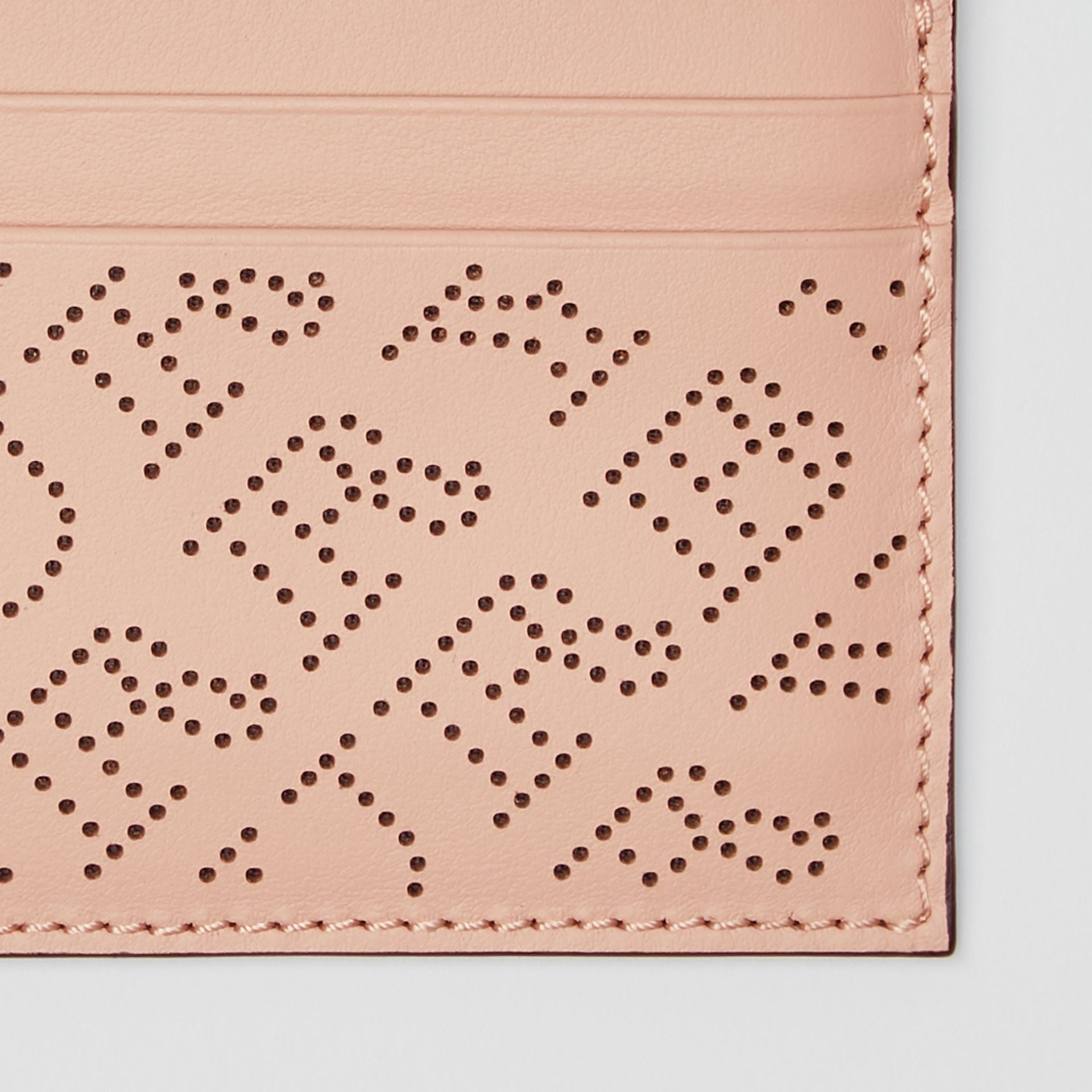 Perforated Logo Leather Card Case in Pale Fawn Pink - Women | Burberry United States - gallery image 1