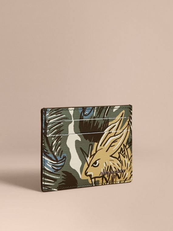 Beasts Print Leather Card Case in Sage Green - Men | Burberry Australia
