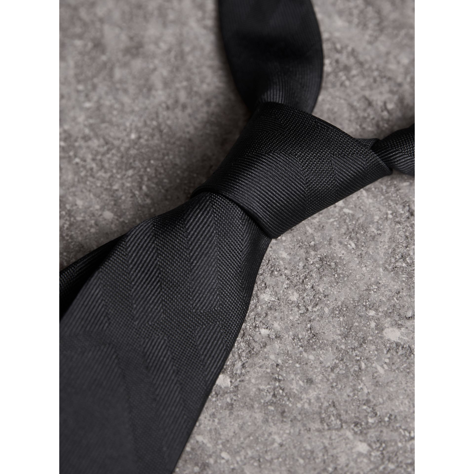 Slim Cut Check Silk Tie in Charcoal - Men | Burberry Canada - gallery image 2