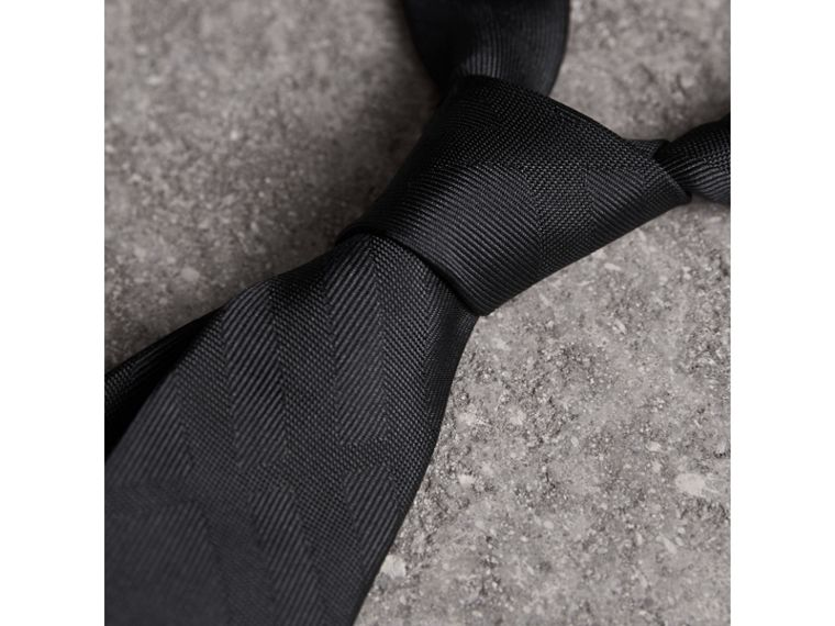Slim Cut Check Silk Tie in Charcoal - Men | Burberry Canada - cell image 1