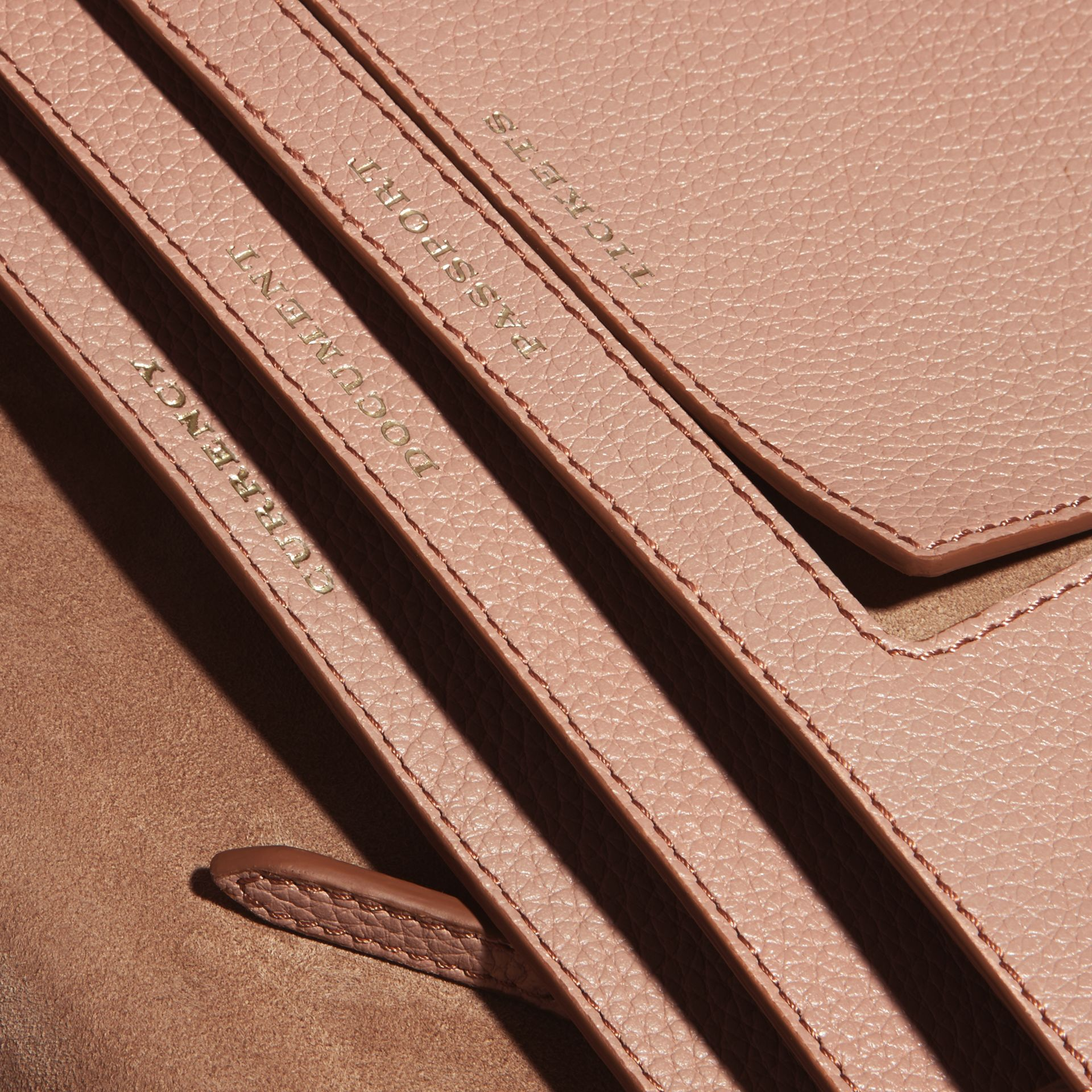 Pale apricot Grainy Leather Travel Wallet Pale Apricot - gallery image 5