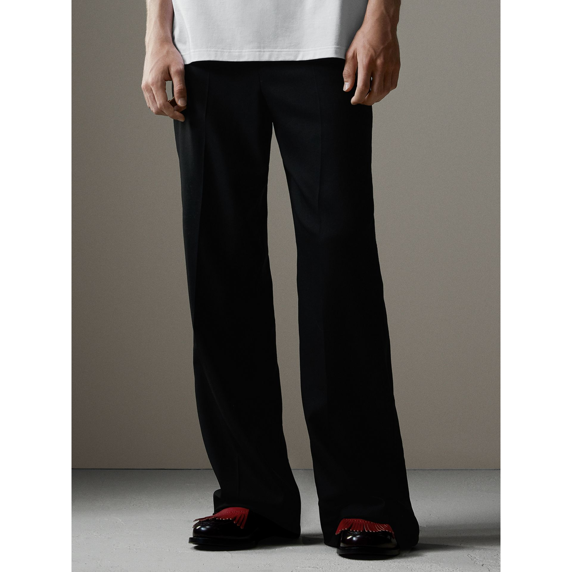 English Wool Mohair Barathea Tuxedo Trousers in Black - Men | Burberry - gallery image 7