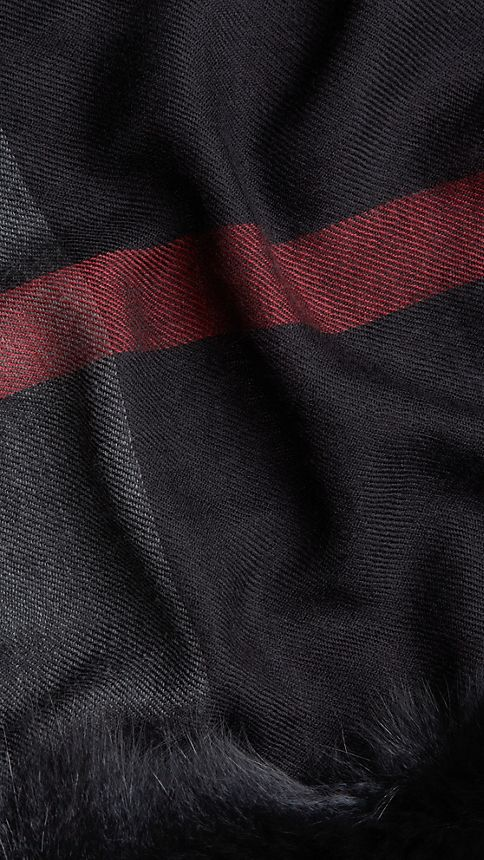 Black check Fur Trim Cashmere Check Scarf - Image 4