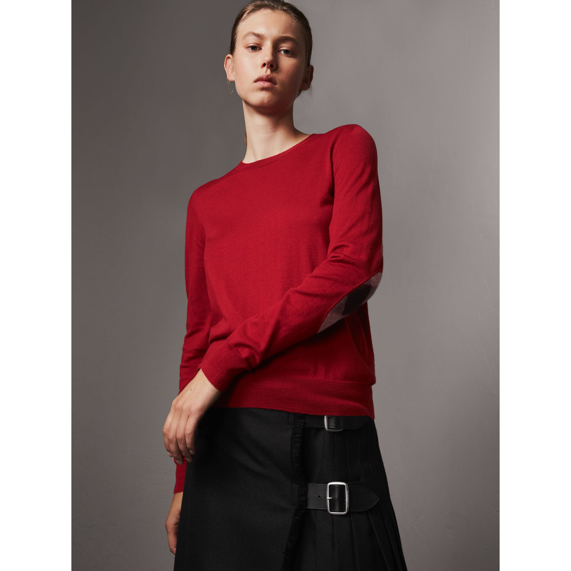 Check Detail Merino Wool Sweater in Parade Red - Women | Burberry United Kingdom - gallery image 1