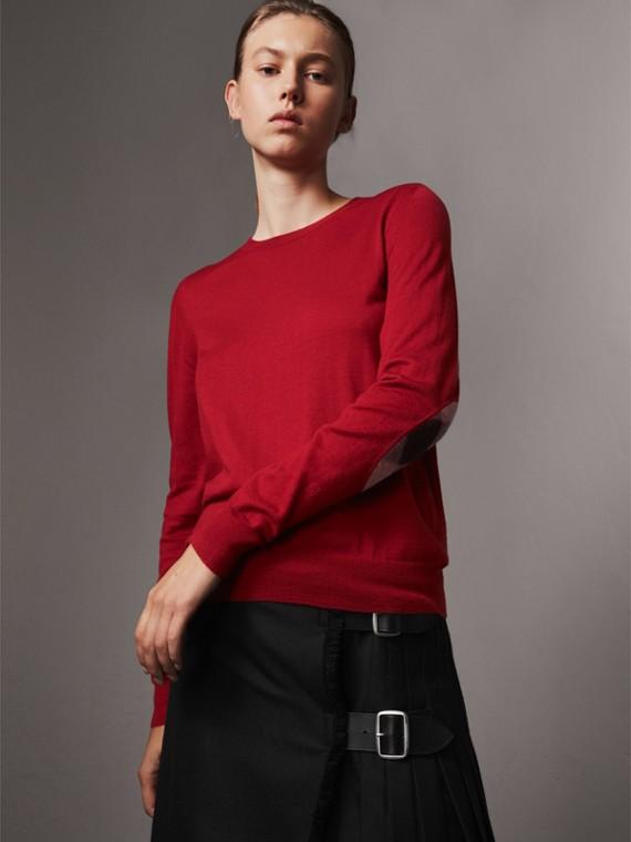 格紋細節設計美麗諾羊毛套頭衫 (繽紛鮮紅色)