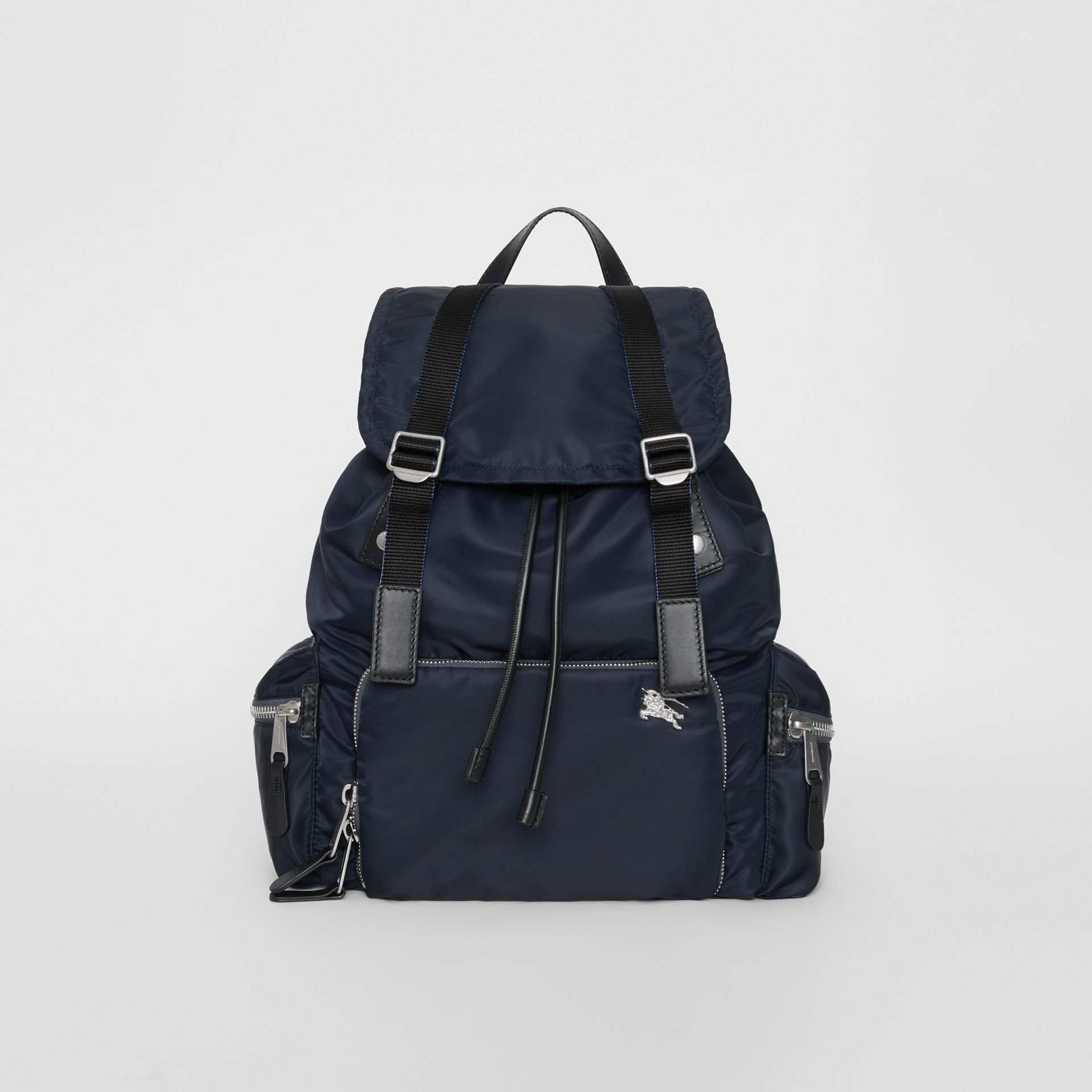 The Large Rucksack in Aviator Nylon and Leather in Ink Blue - Men | Burberry - gallery image 0