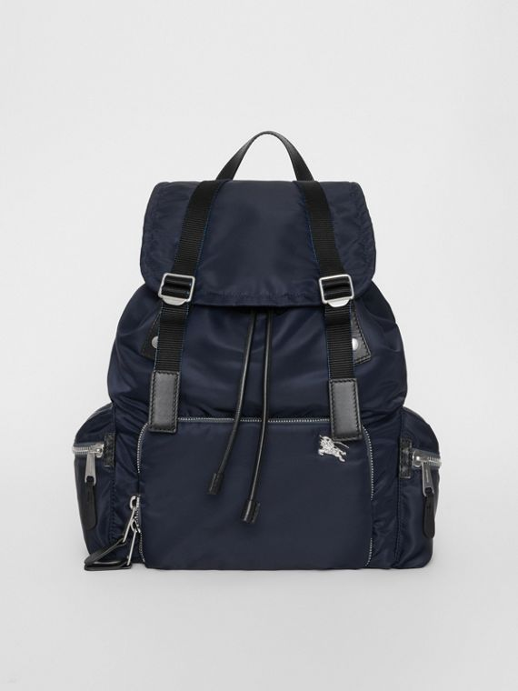 The Large Rucksack in Aviator Nylon and Leather in Ink Blue