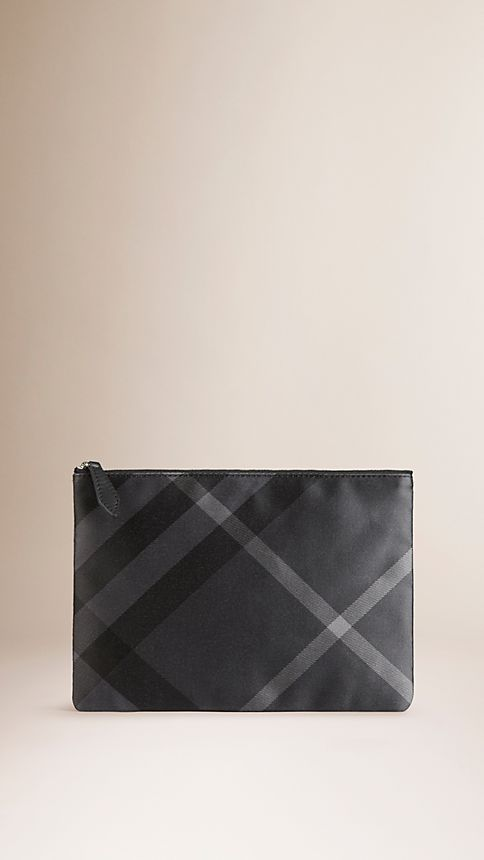 Black/charcoal Large Check Silk Satin Beauty Wallet - Image 1