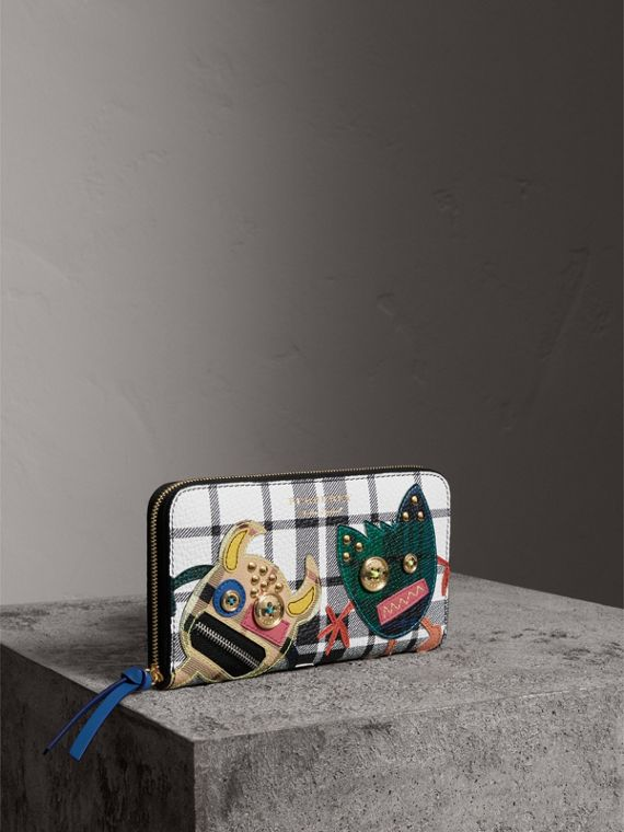 Creature Appliqué Check Leather Ziparound Wallet in Black/white